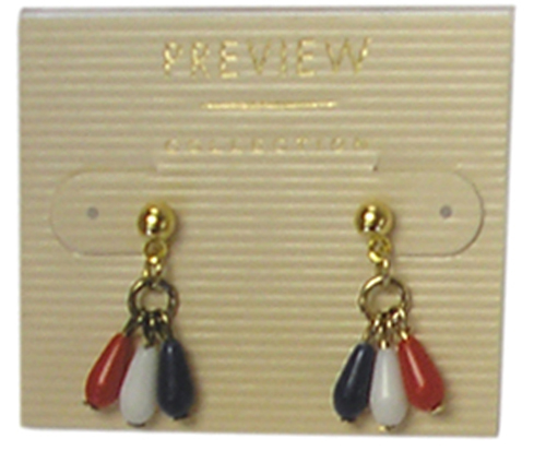 Patriotic 3 Beads Hanging Earrings