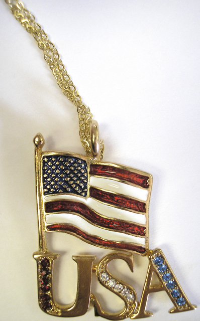 Patriotic USA with Rhinestone American Flag Necklace