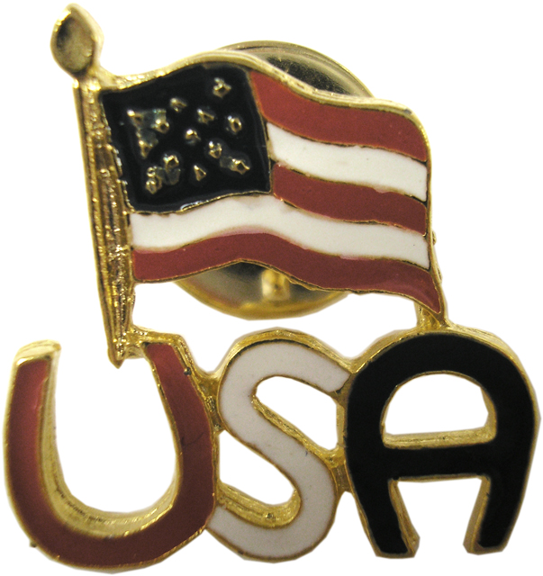 Patriotic USA with American Flag Pin