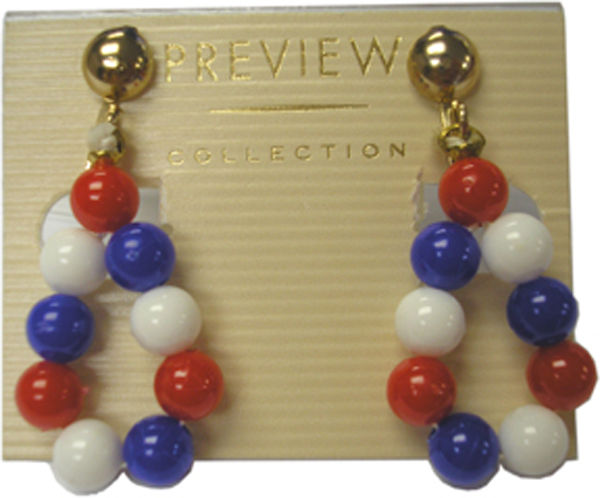 Patriotic Clip-on Hanging Hoop Earrings