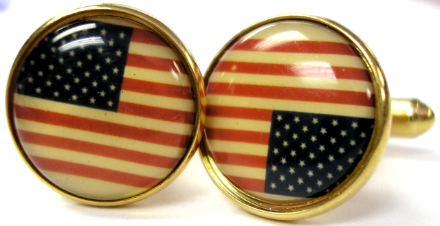 Patriotic American Flag Cuff Links